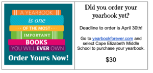 Time to order your CEMS Yearbook!