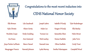 National Honor Society Spring Inductees